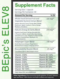 B-Epic's Elev8 supplement facts