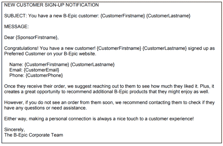 A B-Epic Letter about New Customer