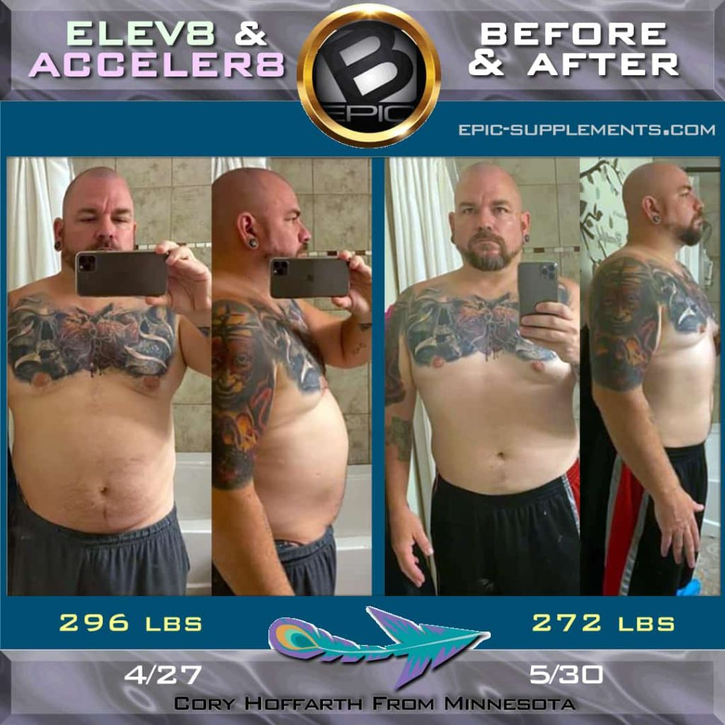 b-epic Elev8 & Acceler8 weight loss man result
