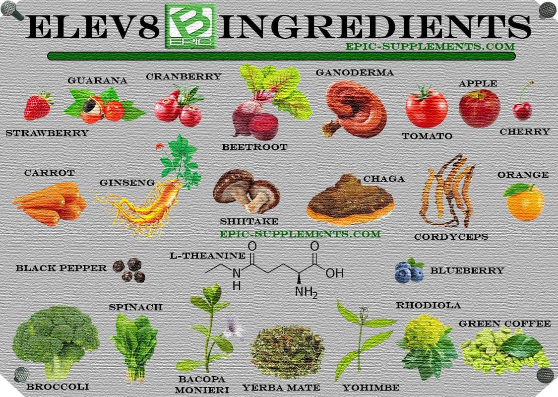 BEpic;s Elev8 pills ingredients png