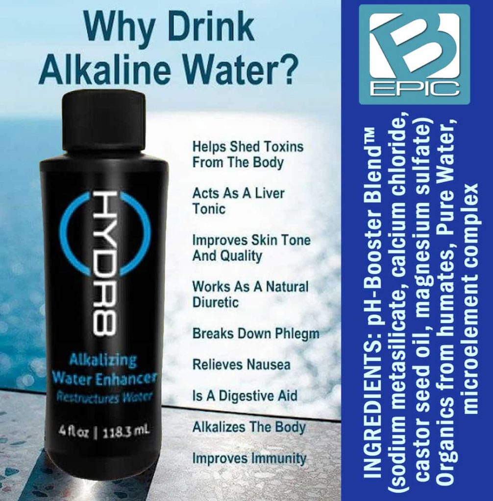Benefits of Hydr8 alkaline water by BEpic