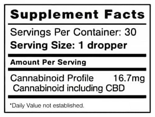 b-epic cbd hemp oil  - nutrition and supplement facts (pic)