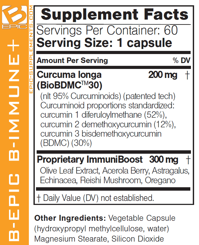BEpic's B-IMMUNE+ composition and supplement facts