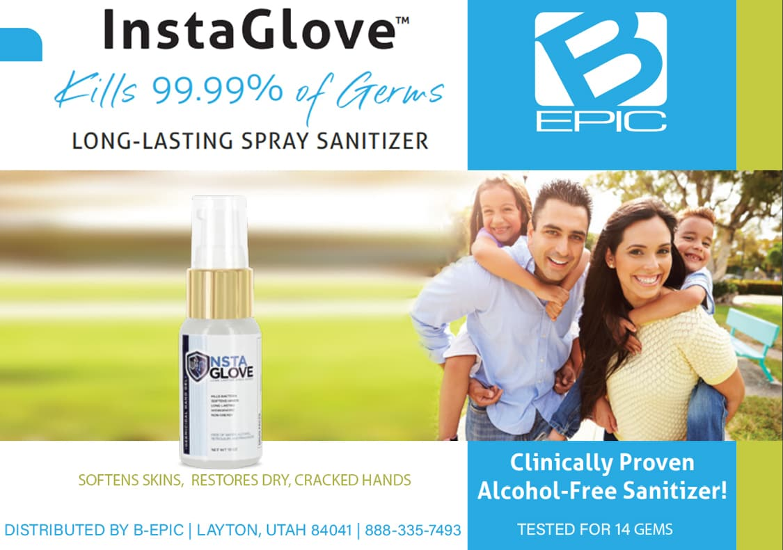 InstaGlove spray sanitizer by B-Epic