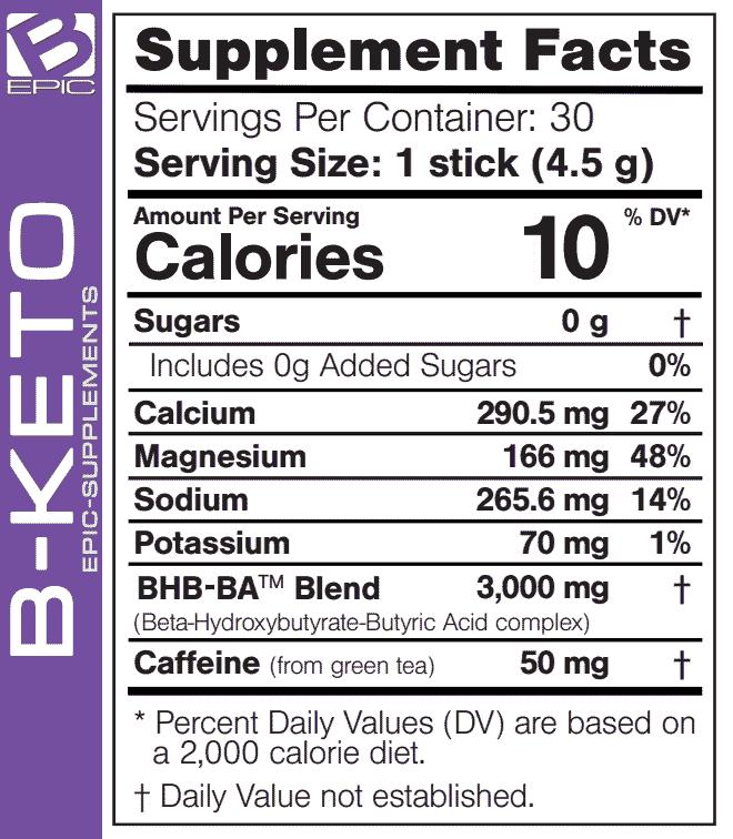Ingredients of B-Epic B-Keto