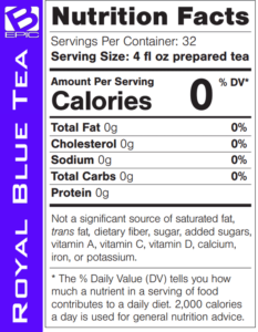 bepic royal butterfly pea blue-tea (supplement facts)