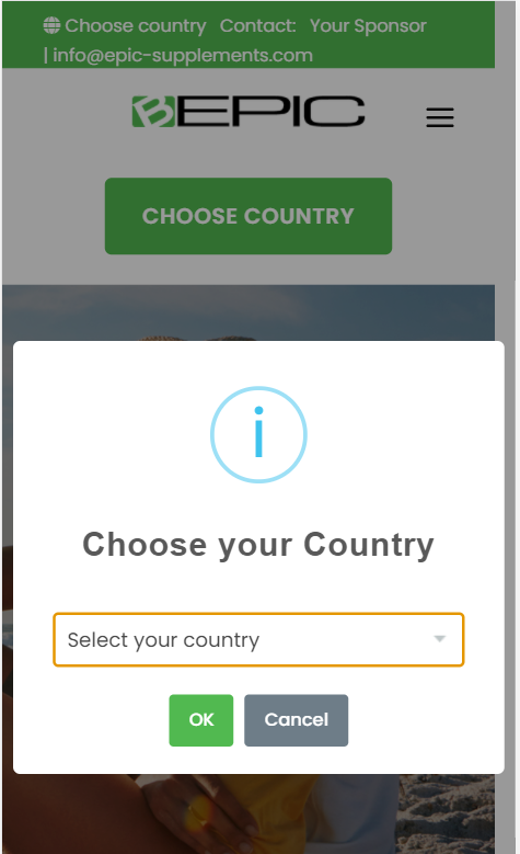 create bepic account (choose country)