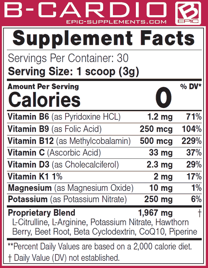 Supplement Facts & Ingredients of Bepic's B-Cardio