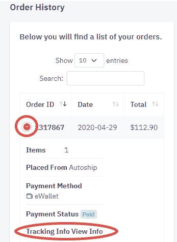 Order details in B-Epic back office